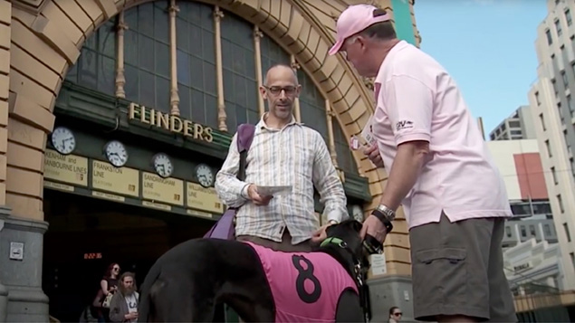 Go the pink dog campaign outside Flinders St. Station